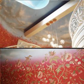 Роспись потолка над лестницей