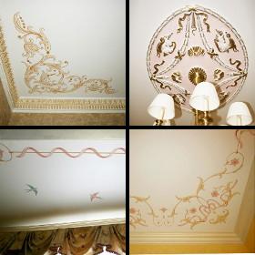Роспись потолков в спальне и гостинной